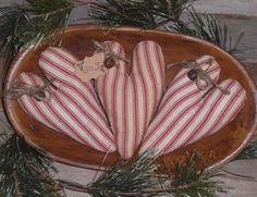 3 Primitive Christmas Winter Red Ticking Holiday JOY Hearts Bowl Fillers Ornies  #Primitive #CHOOSEMOOSEPRIMITIVEDESIGNS