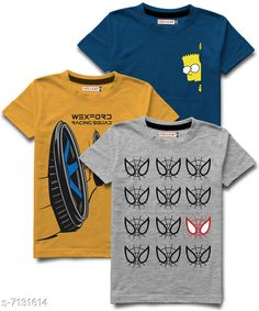 Tshirts & Polos Hellcat stylish Boys Round Neck Tshirts Pack of 3 Fabric: Cotton Blend Sleeve Length: Short Sleeves Pattern: Printed Multipack: Pack of 3 Sizes:  5-6 Years (Chest Size: 13 in, Length Size: 19 in)  15-16 Years (Chest Size: 18 in, Length Size: 26.5 in)  13-14 Years (Chest Size: 17 in, Length Size: 25 in)  1-2 Years (Chest Size: 11 in, Length Size: 17 in)  11-12 Years (Chest Size: 16 in, Length Size: 23 in)  3-4 Years (Chest Size: 12 in, Length Size: 18 in)  9-10 Years (Chest Size: 15 in, Length Size: 21.5 in)  7-8 Years (Chest Size: 14 in, Length Size: 20.5 in) Sizes Available: 3-4 Years, 5-6 Years, 7-8 Years, 9-10 Years, 11-12 Years, 13-14 Years, 15-16 Years, 1-2 Years *Proof of Safe Delivery! Click to know on Safety Standards of Delivery Partners- https://ltl.sh/y_nZrAV3  Catalog Rating: ★4.2 (9813)  Catalog Name: Tinkle Comfy Boys Tshirts CatalogID_1138542 C59-SC1173 Code: 265-7131614-