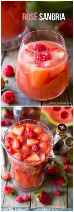 Simple Rose Sangria Recipe on ASpicyPerspective.com #sangria #cocktails #mothersday