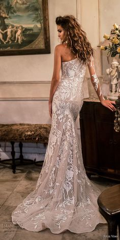 julie vino fall 2018 havana long sleeves one shoulder full embellishment elegant sheath wedding dress chapel train (15) bv -- Julie Vino Fall 2018 Wedding Dresses