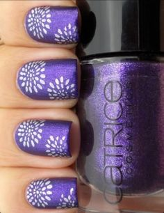 Purple Flower Nail Polish