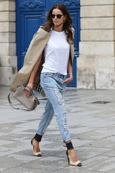 Street style - Izabel Goulart in Paris March 2014 - distressed denim jeans, beige jacket, white shirt, black & white heels