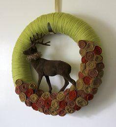 Brown Deer Wreath, Winter Wreath, Woodland Wreath, Yarn and Felt Wreath, 14 inch size. $48.00, via Etsy.