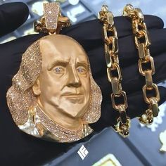 Custom Yellow Gold XL Sized Benjamin Franklin Piece Partially Iced Out With White Diamonds, Matched With Our Classic Odin Link Chain. Luxury Jewelry, Custom Jewelry, Gold Jewelry, Unique Jewelry, Mens Gold Rings, Pinterest Jewelry, Gold Diamond Watches, Piercings, Gold Chains For Men