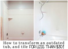 When we moved in our tub was pink! See what I used to update an ugly bathtub & turn it from drab to fabulous! You won't believe the before & after pictures!
