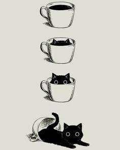 Crazy Cat Lady, Crazy Cats, Animal Drawings, Cute Drawings, Wallpaper Gatos, Black Cat Drawing, Art Anime, Drawing Tips, Drawing Drawing