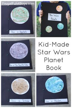 Kid-Made Star Wars Planet Book - How fun!  Shaving cream marbling for some of the planets, real sand on Tatooine.