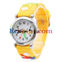 Cartoon Airplane Silicone Analog Quartz Wrist Watch (Yellow) : Online Shopping for Watches, Toys & more