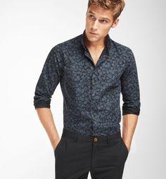 SLIM FIT FLORAL PRINT BLACK SHIRT ,Casual shirts - MEN - Massimo Dutti