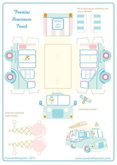 Free Printable Ice Cream Truck   boxes templates & ideas   Pinterest