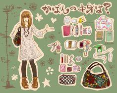 what's in your bag? Art Kawaii, Kawaii Chibi, What In My Bag, What's In Your Bag, What's In My Backpack, Shokugeki No Soma Anime, What's In My Purse, Drawing Bag, Meet The Artist