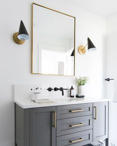 Beautiful master bathroom decor tips. Modern Farmhouse, Rustic Modern, Classic, light and airy master bathroom design ideas. Bathroom makeover a few ideas and bathroom remodel some ideas. Bathroom Vanity Decor, Bathroom Interior Design, Bathroom Storage, Bathroom Ideas, Bathroom Renovations, Bathroom Colors, Bathroom Organization, Bathroom Lighting, Shower Ideas