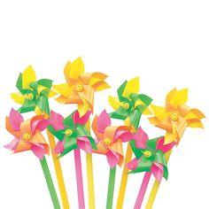 Mini Neon Two-Tone Pinwheels - OrientalTrading.com for sweet favors