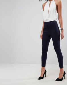 Browse online for the newest ASOS DESIGN high waist pants in skinny fit styles. Shop easier with ASOS' multiple payments and return options (Ts&Cs apply). Trouser Outfits, Basic Outfits, Cute Outfits, Work Outfits, Outfit Work, Sweater Outfits, Work Dresses, Outfit Goals, Stylish Outfits