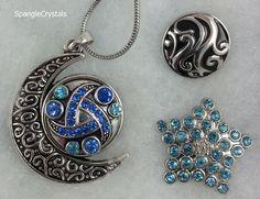 Half Moon Snap Pendant Necklace Set - 3 Changeable Snaps - Crystal Sky Blue Rhinestone Star, Geometric Blue Design & Black Swirl Snap Set. by SpangleCrystals on Etsy