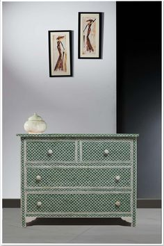 Green Mint Color Bone Inlay Chest of Drawer | Green Bone Inlaid Chest | Bone Dresser