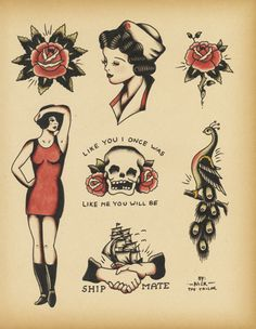 Old School Tattoo Flash 142 by Calico