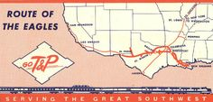Historical Map: Texas and Pacific Railways Route Map (c. 1950s) Great little system map from the back of a ticket. Amtrak's modern-day Texas Eagle route is a direct descendant of the route shown here. Source: Wikimedia Commons