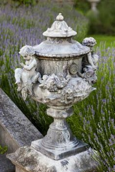 Eye For Design Decorating Your Home With Classical Lidded Garden Urns Inside And Out # Formal Gardens, Outdoor Gardens, Outdoor Garden Statues, Pot Jardin, Lavender Garden, Lavender Fields, Garden Urns, Garden Features, My Secret Garden