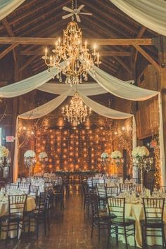 barn wedding reception ideas with draping fabric #wedding #weddingideas #barnwedding