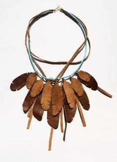 Naszyjnik Piórka  |  Feather Necklace #leather #feather #handmade #design #etno