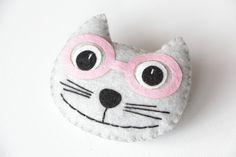 Felt Brooch Cat in glasses Felt Jewelry Felt Pin Cat by ecotule