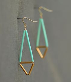 Mint Geometric Earrings - Pastel and Gold.