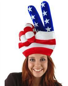 Show some American Pride in the USA Peace Hand Hat.