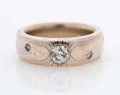 Mokume Gane Ring Wedding Band Vortex Pattern Firestorm Palette with Diamonds