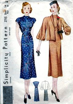 Vintage 1930's Sewing Pattern 2715 GLAMOROUS Misses' by anne8865