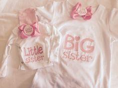 Sister Set - Little Sister/Big Sister - Newborn Girl Coming Home Outfit - Newborn Girl Hospital Hat - Newborn Girl Shirt- Side Snap Shirt by LovelyMeBoutique on Etsy https://www.etsy.com/listing/233294936/sister-set-little-sisterbig-sister