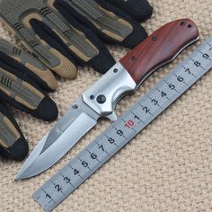 New tactical folding knife camping hunting survival pocket rescue knife outdoor edc hand tools stainless steel blade wood handle