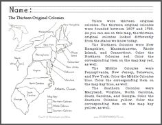 Thirteen Original Colonies Map - Primary Worksheet - Free to print (PDF file). For grades K-3.