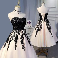 Tea Length Champagne and Black Lace Wedding Party Gown Formal Prom Dress ., Tea Length Champagne and Black Lace Wedding Party Gown Formal Prom Dress Short 2018 Cute Prom Dresses, Day Dresses, Pretty Dresses, Beautiful Dresses, Dress Outfits, Short Dresses, Bride Dresses, Elegant Dresses, Pink Dresses