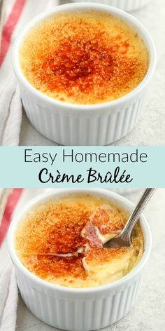 This Easy Crème Brûlée is made with just four ingredients and features a rich custard base with a crisp caramelized topping. This Easy Crème Brûlée is made with just four ingredients and features a rich custard base with a crisp caramelized topping. Dessert Simple, Dessert For Two, Cream Brulee, Creme Brulee Cake, Creme Brulee Cheesecake, Classic Cheesecake, Custard Recipes, Egg Yolk Recipes, Baked Custard Recipe
