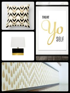 Black & White & Gold! Clockwise from top, right: 'Treat Yo Self' by paperchat on Etsy; 'Gold Chevron' stair riser art by Tribute Designs on Etsy www.tributedesigns.etsy.com; 'Foley Lamp - Black & Gold' by Worlds Away www.claytongrayhome.com; 'Black, White & Gold Glitter Herringbone Chevron on Nude Cream Throw Pillow Cover' www.society6.com