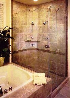 incorporate oversized shower somehow with our large jacuzzi tub