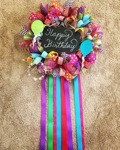 A personal favorite from my Etsy shop https://www.etsy.com/listing/544892227/happy-birthday-wreath-birthday-wreath