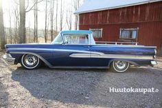 Ford Ranchero Kustom Vm.1958 Viime kesänä valmistunut upea Kustom Ranchero. Alkuperäisellä Y-lohko+ automaatti tekniikalla. Uudet tai todella hyvät kromit, uusi sisustus, upea maalaus, ilmapussit. Suoraan ajoon, leima voimassa.
