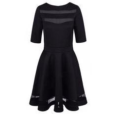 Womens Summer Dresses European Style Ladies Knee Length Vintage Mesh Fashion Black Party Dresses New Arrival