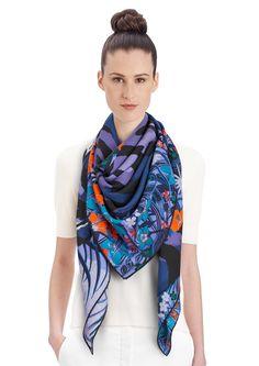 """2015 FW   Tyger Tyger   Cashmere and silk shawl, 55"""" x 55"""" (70% cashmere, 30% silk)   Alice Shirley   Ref: 242958S 05 Lavande/Orange/Noir   US$1,100"""