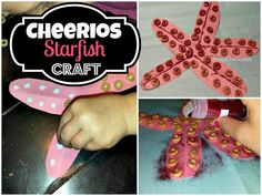 Here's a great craft for preschoolers or any young age! You can make a starfish using cheerios! All you need is a pink piece of paper, scissors, glue, cheerios, and glitter (optional). I did this project with a 4 year old and I put the glue dots for her. She loved pressing the cheerios on! …