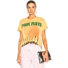 Madeworn Pink Floyd Tee ($160) ❤ liked on Polyvore featuring tops, t-shirts, distressed t shirt, destruction t shirt, beige top, madeworn tees and distressed top
