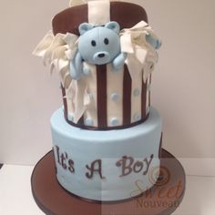 It's A Boy!!!!! Custom Cake for a baby shower today.  #sweetnouveau #customcakes #cakes #teddybear #babyshower #itsaboy