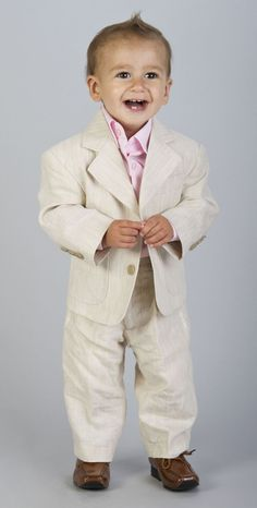 toddler boy clothes | BABY BOYS BEIGE WEDDING LINEN SUIT AGE 0 6 m to 16 yrs