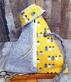 COTTAGE FELT BAG Pyramid Style Project Knitting Crochet Craft Geometrical Triangle Grey Felt Mustard Cotton Storage Organiser Handmade Gift