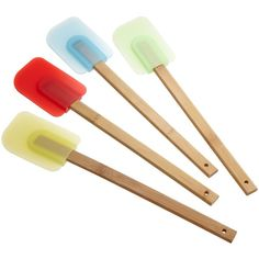 Good Cook Set of 4 Silicone Spatulas with Bamboo Handles ($5.70) ❤ liked on Polyvore