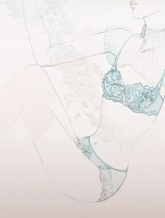 Lace & Turquoise - Spring Lingerie Illustrations for Japanese Fashion Magazine commons&sense.