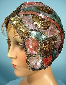 Sequin & Beaded Cloche, 1920's - by Bedell, Paris <> (vintage lady, flapper era, jazz age, millinery, fashion)