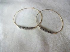 14k Gold Fill Hoop and Sterling Silver Ornate Accent by KalosandCo, $52.00